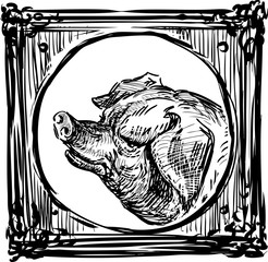 Portrait of a pig in a decorative frame