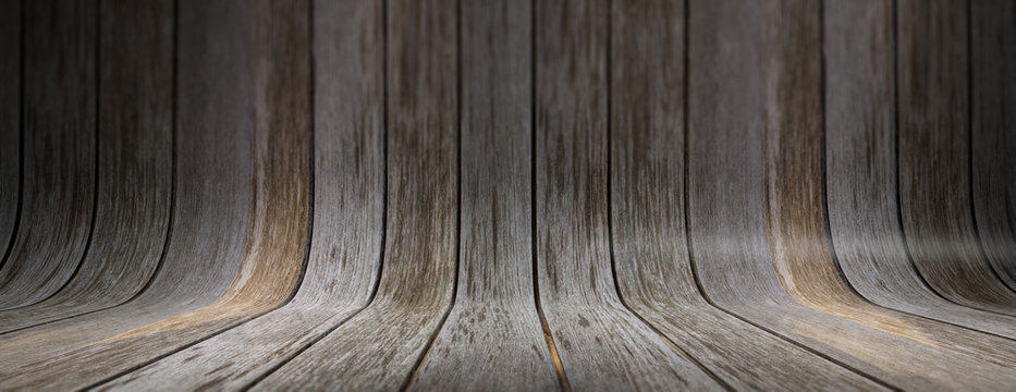 Old grungy and curved wooden background, banner