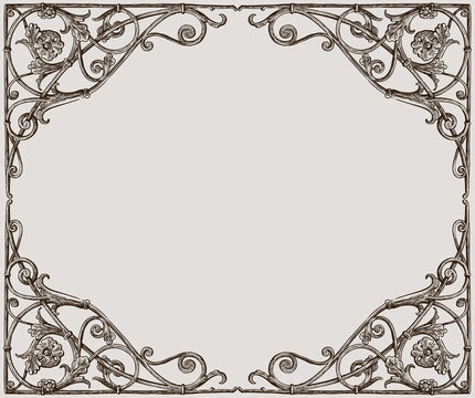 Vector drawing of a decorative frame in art nouveau style