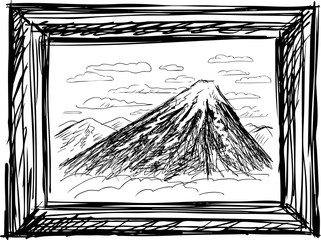 Vector sketch of a mountain scape in a frame