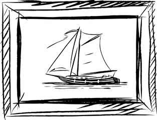 Vector sketch of a sailing boat in a frame