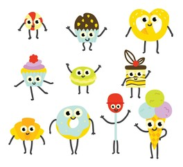 Vector illustration set of sweet desserts cartoon characters with cute smiling faces in flat style - emoticons of delicious sugar confectionery pastries isolated on white background.