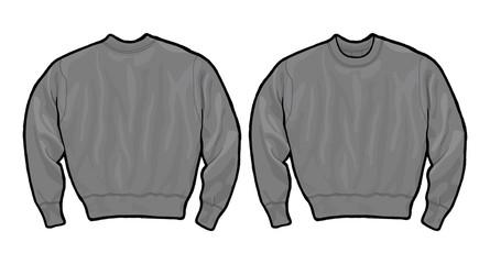Grey sweatshirt template drawing vector illustration