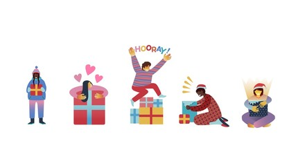 Vector illustration set of happy kids getting Christmas and New Year gifts isolated on white background - flat characters of children with present boxes for winter holidays.