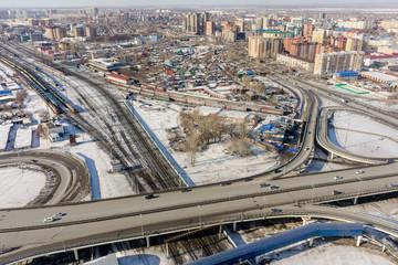 Aerial view on M.Torez street bridge. Tyumen