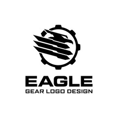 Eagle Head Gear Military Logo design template