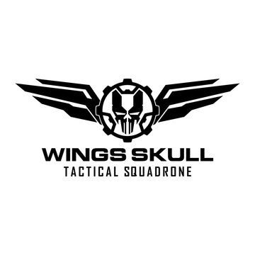 wings gear skull military tactical squadrone logo design template