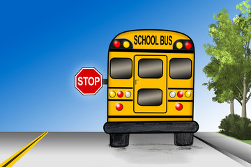 School bus with stop sign on street - Illustration