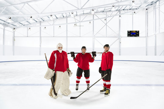 Portrait of ice hockey players standing in ice rink