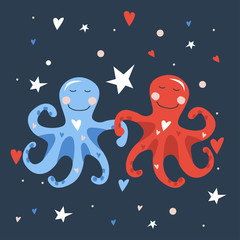 Vector hand drawn illustration of two cute blue little octopuses dancing with red and blue hearts on starry night sky. Valentine card 2019