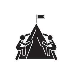 Racing climbers black vector concept icon. Racing climbers flat illustration, sign, symbol