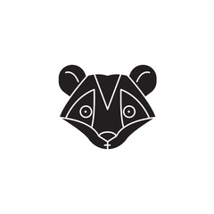 Raccoon head black vector concept icon. Raccoon head flat illustration, sign, symbol
