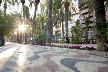 spain, alicante famous sidewalk on the waterfront