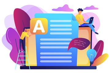 Copywriter at huge laptop writting creative advertising text. Copywriting job, home based copywriter, freelance copywriting concept. Bright vibrant violet vector isolated illustration