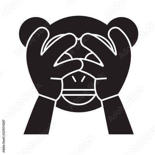 See no evil emoji black vector concept icon  See no evil