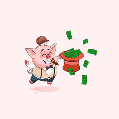 pig sticker emoticon with hat of money