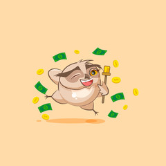 owl sticker emoticon jumping for joy money