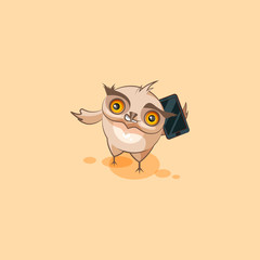 owl sticker emoticon with smart phone