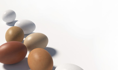 A lot of multi colored chicken eggs lie randomly on a white background. Copy space. 3D render.