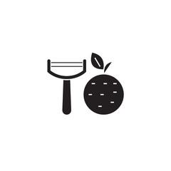 Vegetable peeler black vector concept icon. Vegetable peeler flat illustration, sign, symbol