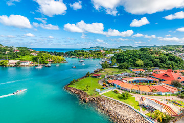 Wall Mural - Aerial view of port Castries with duty free shops. Popular for cruise passengers. Saint Lucia, Caribbean Island.