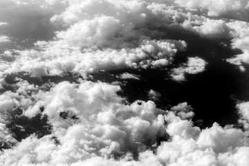 Black and White clouds aerial view