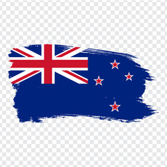 Flag New Zealand from brush strokes.  Flag New Zealand on transparent background. Stock vector. Vector illustration EPS10.