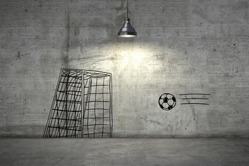 Background image with a soccer drawings on grey wall