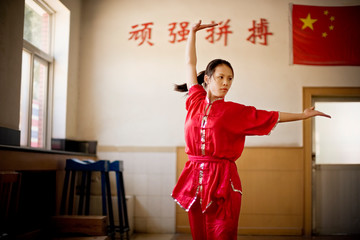 Portrait of a teenage girl performing martial arts in a gym.