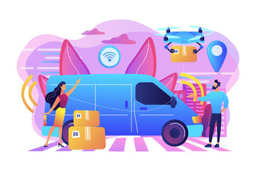 Autonomous delivery van with sensors and drone delivering parcel. Autonomous courier, driverless delivery service, modern parcel services concept. Bright vibrant violet vector isolated illustration