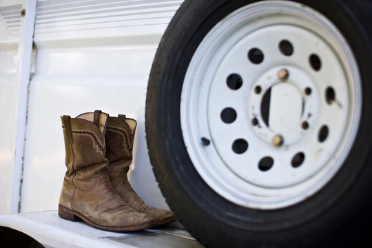Truck wheel with boots.