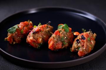food photo art, deluxe restaurant menu, antipasto, starter. beef tartar with greenery, delicious raw meat