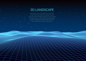 3d illustration. Abstract landscape on a white background. Cyberspace grid.