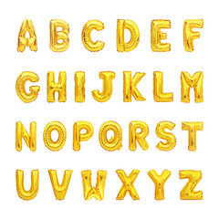 set of gold capital A-Z alphabet balloon isolated on white