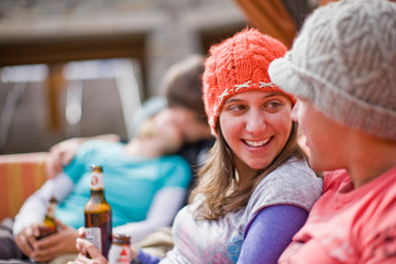 Couple relaxing at a ski lodge