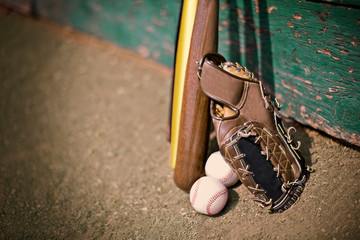 Leather baseball mitt next to baseball bats and balls.