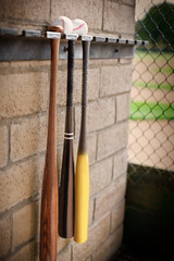 Three baseball bats hanging from a wall rack below two baseballs.