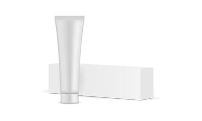 Toothpaste tube and cardboard box mockup isolated on white background. Vector illustration