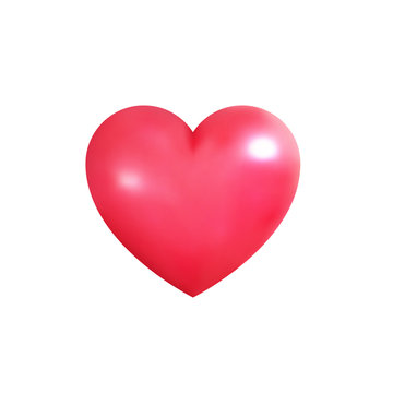 Valentine's Day heart. Realistic 3d heart for Valentine's Day. Shiny pink heart.