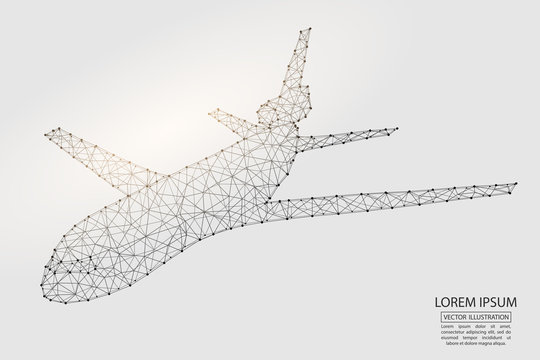 Aircraft consisting of 3D triangles, lines, points and connections. Vector illustration EPS 10.