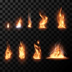Realistic flame set
