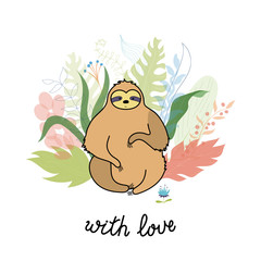 Vector illustration of cute character sloth