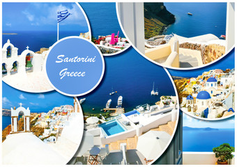 Set of different Santorini photos. Rest and traveling in Greece concept.