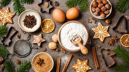 Christmas baking table