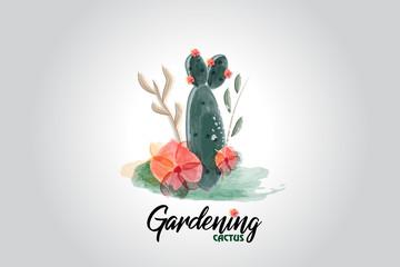Cactus floral watercolor logo vector image