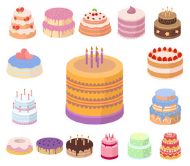 Cake and dessert cartoon icons in set collection for design. Holiday cake vector symbol stock web illustration.