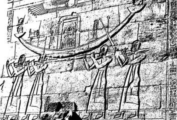 Realistic Egyptian hieroglyphs in stone (Vector illustration).