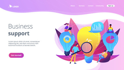 Big lightbulbs and business team working on solution. Business solution and support, problem solving and decision making concept on white background. Website vibrant violet landing web page template.