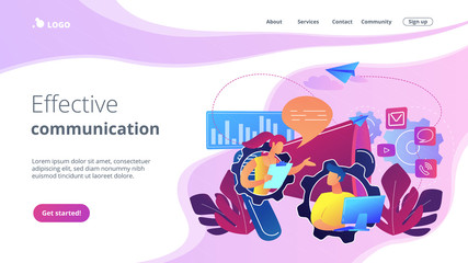 Pr managers communicate and huge megaphone. Public relations and affairs, communication, pr agency and jobs concept on white background. Website vibrant violet landing web page template.
