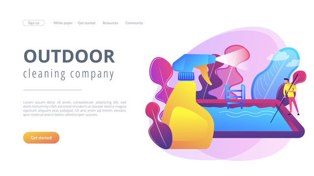 Swimming pool service worker with net cleaning water. Pool and outdoor cleaning, swimming pool service, outdoor cleaning company concept. Website vibrant violet landing web page template.